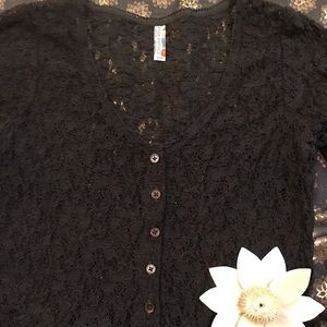 Free People Black Lace Crotchet Blouse